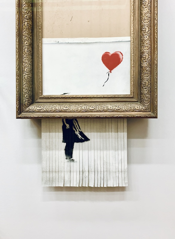 girl with balloon opera distrutta banksy