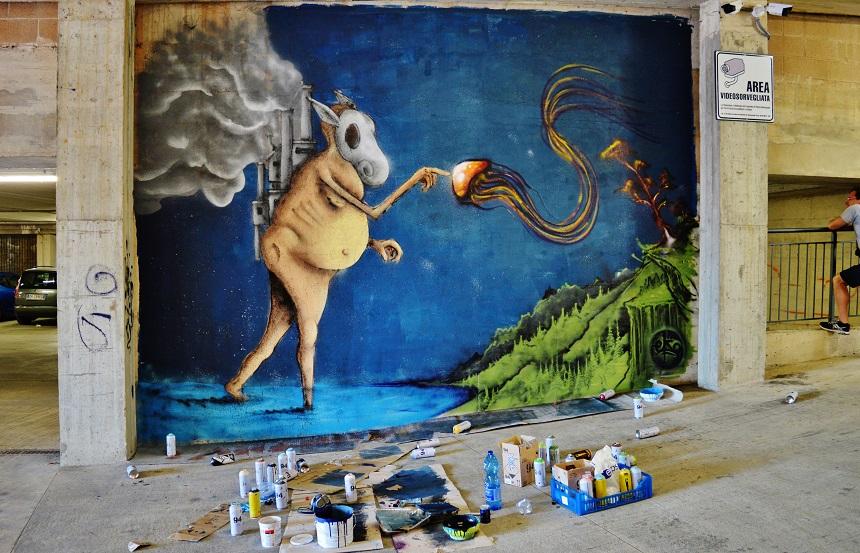 street art nei parcheggi poggibonsi dettaglio muro