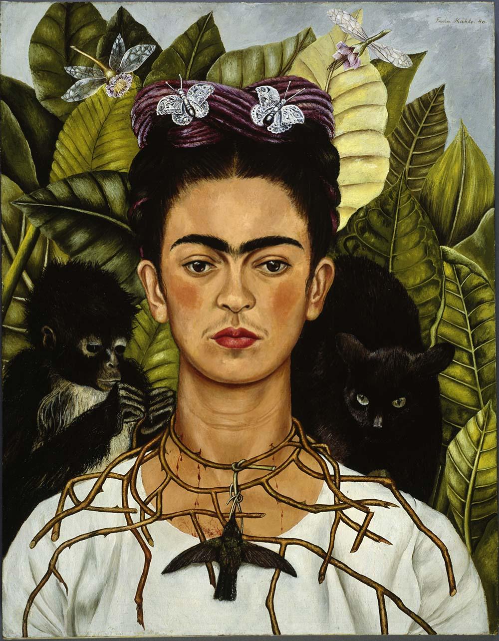 opere famose frida kahlo autoritratto con collana di spine