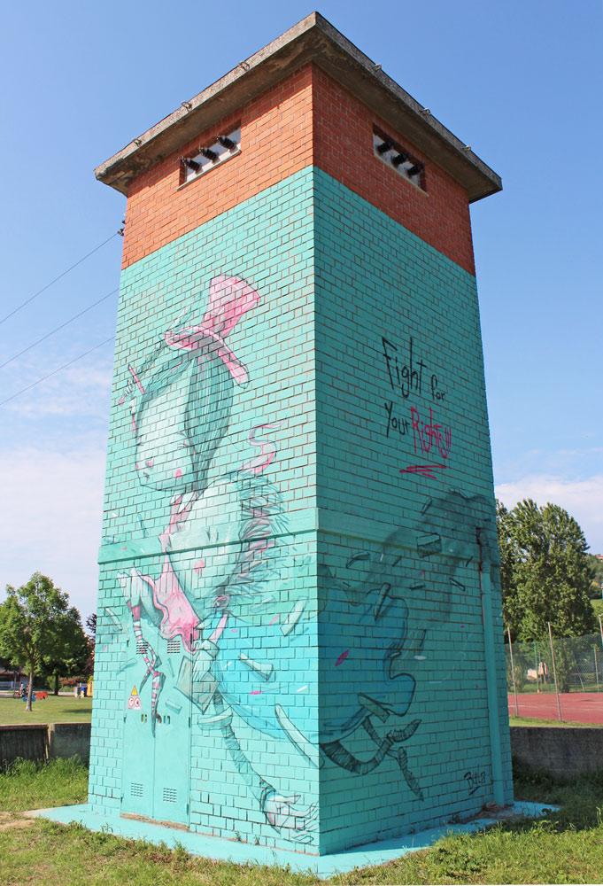 street art gradara burla torretta enel